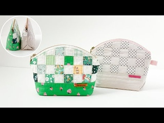 Curved Patch Pouches | Patchwork Zipper Pouch | Sewing Pattern | Beginner Friendly Sewing