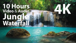 4K UHD 10 hours - Jungle Waterfall - mindfulness, ambience, relaxing, meditation, nature