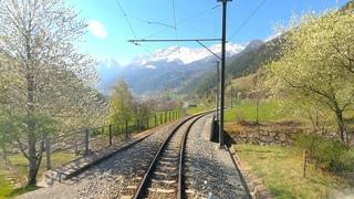 ★ 4K 🇨🇭St. Moritz - 🇮🇹Tirano, early Spring cab ride (Bernina Pass, Switzerland) []