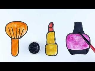 Bolalar uchun lab bo'yog'i rasmini  kosmetika  chizishРисуем рисунок помады косметики для детей