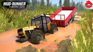 Spintires: MudRunner - URSUS 1614 Tractor With Trailer Driving Through Mud