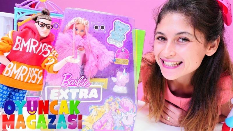 Barbie videoları Defile için Barbie Extra satın alıyoruz Oyuncak mağazası kız oyunu