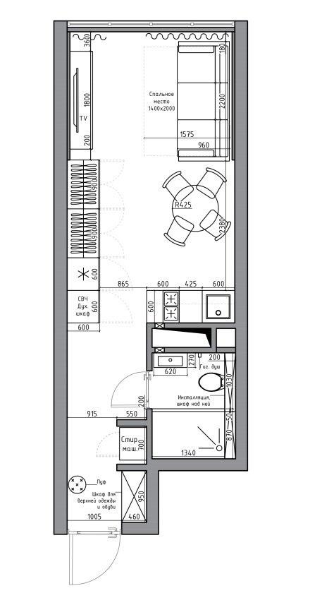 Компактная квартира-студия 24 кв.
