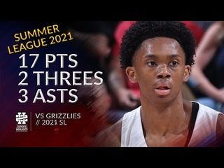 Josh Primo 17 pts 2 threes 3 asts vs Grizzlies 2021 Summer League