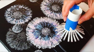 FANTASY Dandelion Acrylic POURING Tutorial - Toilet Roll Painting Method   ABcreative